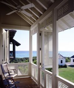 Louvered porch shutters -- for covered patio