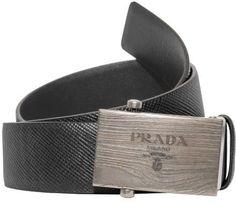 Prada Box Frame Engraved Buckle Saffiano Reversible Leather Belt (Black/Gray, EU:100 US:40)