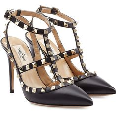 Valentino Leather Rockstud Stiletto Heels (223.305 HUF) ❤ liked on Polyvore featuring shoes, pumps, heels, high heels, sapatos, black, black leather pumps, ankle strap pumps, black pumps and high heel shoes