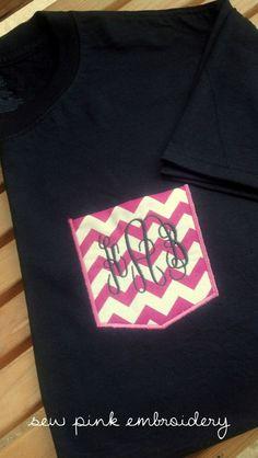 Monogrammed Chevron Pocket TShirt by sewpinkembroidery on Etsy, $20.00