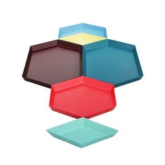 Lov these kaleido trays. They stack together for a bright effect when not in use…