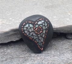 Light Green and Copper/ Butterfly Heart  by ChrisEmmertMosaic, $26.00