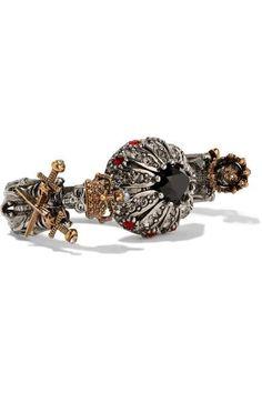 feefc5f53f5 Alexander McQueen - Bague deux doigts en plaqué argent et or ornée de  cristaux Swarovski et de perles synthétiques