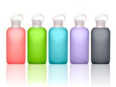 Bottle Service What We Love: Elegant glass water bottles from bkr Colored Glass Bottles, Glass Water Bottle, Water Filtration System, Bottle Design, Elle Decor, Aqua, Bubbles, Gift Ideas, Decor Ideas