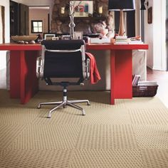 Contemporary room design with Flor carpet tiles Home Theater