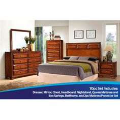 Factory Direct 10pc Harper Bedroom Group with Mattress Set, Frame