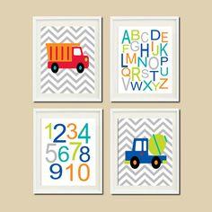 Construction Trucks Chevron Nursery Art by LovelyFaceDesigns, $37.00