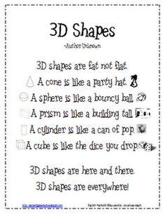Lil Country Kindergarten: 3D Shapes Poem Freebie  Probably for the first day of   class