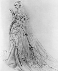Sketch of Princess Grace's wedding dress