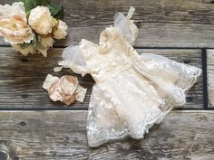 Grace-Newborn baby girl christening gown dress-baptism-vintage-lace-dresses-pearl-baby clothing-shabby chic-cream-beige-ivory-easter