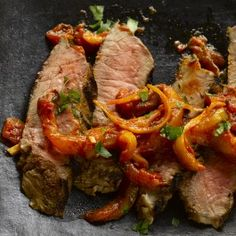 Harissa-marinated beef sirloin with preserved lemon sauce...Ottolenghi delivers again!