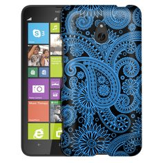 Nokia Lumia 1320 Paisleys Outline Blue on Black Slim Case