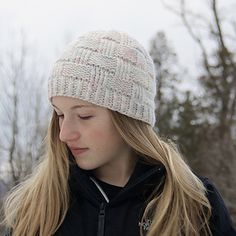 """""""Dawnland Hat"""" design by Becky Robbins. Knit with Morning Bright Holistic Merino Bulky in """"When I See Birches""""."""
