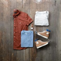 Mixture of vintage colors happening today  #mycreativelook  T-Shirt: @americaneagle Shirt: @jachsny - Rust Garment Dye Short Sleeve Oxford Chinos: @jachsny - Off White Bowie Fit Stretch Cotton Sneakers: @colchesterrubberco  National Treasure Socks: @keepitsimplesocks - Pixelated Watch: @danielwellington - Dapper Durham
