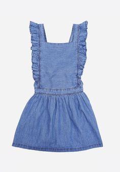 Chambray Pinafore Dress Denim blue Emile et Ida Fashion Children Kids Clothing Brands, Apron Dress, Pinafore Dress, Summer Girls, Overall Shorts, Chambray, Jeans, Blue Denim, Kids Outfits