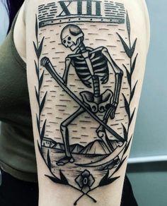 Death tarot card done by Nathan Kremmer at West Anchor Tattoo in Cleveland Ohio Death Tattoo, I Tattoo, Tattoo Flash, Cool Arm Tattoos, Skull Tattoos, Tarot Death, Tarot Card Tattoo, Death Art, Dagger Tattoo