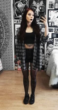 Oversized plaid flannel, black crop top & denim shorts by nickysatanabis