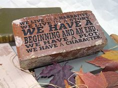 We Live In A Narrative, We Live... Eugene Pererson Quotation Engraved Red Brick Bookend Doorstop Home Or Office Decor