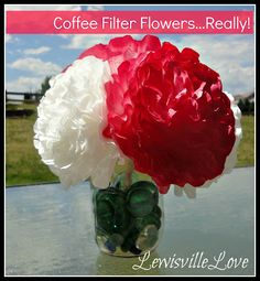 Spray painted how to from scratch Coffee Filter flowers.  So cute!