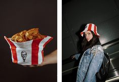 KFC Just Launched a Bucket Hat That, If You Want, Still Doubles as a Chicken Bucket – Adweek Chicken Bucket, Buffet, Colonel Sanders, Summer Accessories, Red And White Stripes, Kfc, Streetwear Brands, Going Crazy, Fashion Shoot