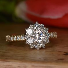 Handmade Diamond and Two Toned Gold Engagement Ring (Art Deco, Flower Shaped) on Etsy, $4,000.00