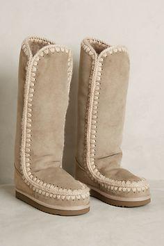 Mou Crochet Suede Boots - anthropologie.com