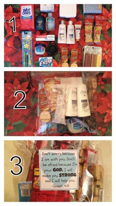 Rather than giving money to a homeless person you see, offer this bag packed with food, cosmetics, first aid kit, and other h. Homeless Bags, Homeless Care Package, Homeless People, Blessing Bags, Little Presents, Daisy, Service Projects, Protein Pack, Helping The Homeless