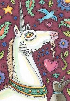 Medieval UNICORN Bluebird HARE Rabbit Fantasy Horse Susan Brack Art ACEO EBSQ