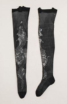 1900-1910 French Stockings made of silk. Owned by Rita de Acosta Lydig (1880-1929), a noted beauty and style icon of the early 20th century. The Metropolitain Museum of Art at http://www.metmuseum.org/Collections/search-the-collections/80094512#
