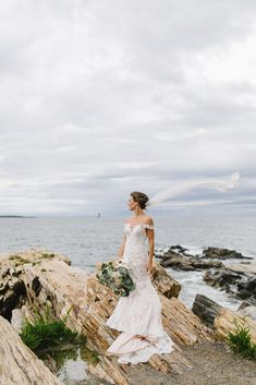 Gorgeous bouquet and vintage inspired lace dress by the ocean for seaside wedding at Portland Head Light, Cape Elizabeth, Maine. Photo by Hillary L Photography, Boho Beach Wedding, Wedding Pics, Wedding Styles, Beach Weddings, Destination Weddings, Summer Wedding, Wedding Decor, Wedding Ideas, Bohemian Wedding Inspiration
