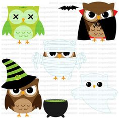 owls halloween clip art for commercial and by scrapWorld2010
