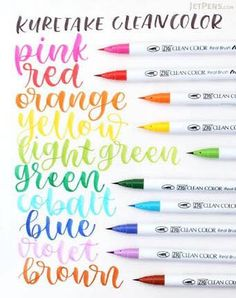 Just saw these in action- gorgeous juicy color! Kuretake Zig Clean Color Real Brush Pens' soft brush tips and built-in ink supplies combine the convenience of a regular marker with the artistic versatility of a brush. Calligraphy Supplies, Calligraphy Letters, Modern Calligraphy, Jet Pens, Journaling, Cute School Supplies, Lettering Tutorial, Brush Lettering, Bullet Journal Inspiration