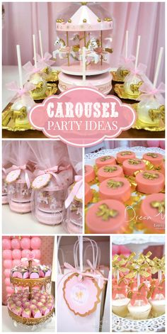 A Carousel themed girl birthday party with chocolate covered Oreos and tiny carousel favors!  See more party planning ideas at CatchMyParty.com!