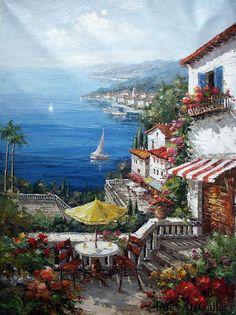 Original oil painting Seaside House Seascape oil by LucyArtGallery, $59.00