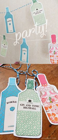 Fun and unique gin paper bunting for birthday parties, bridal showers, or to shabby chic your kitchen shelf or bar station. Available as a DIY printable too for an inexpensive party idea! Winter Bridal Showers, Garden Bridal Showers, Drink Bar, Diy Wedding On A Budget, Wedding Ideas, Party Wedding, Chic Wedding, Trendy Wedding, Wedding Cake
