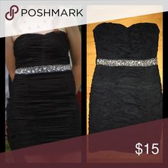 Semi formal dress Black mini dress, perfect for semi formal dance/ cocktail party, cute silver sequin belt too add some sparkle, ruched dress, goes perfectly with silver heels and jewelry, strapless Dresses Mini