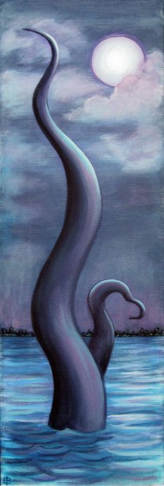 "Of the Deep, 24"" x 8"" original painting on canvas by Eden Bachelder"