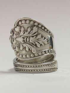 """Vintage Sterling Silver """"Green Man"""" Spoon Ring on Etsy, $65.00"""