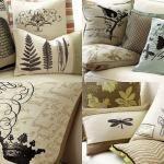 drop cloth pillows with image appliqué  (ballard design inspired)