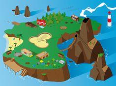 Holiday Island 3D isometric on Behance