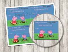 Peppa Pig Valentine's Day Cards | DIY Instant Download Printable | DIY Printable Valentine's | Kids School Valentine Cards | Muddy Puddles by UniquelyJDesigns on Etsy