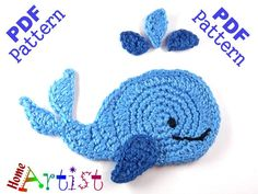 Whale Applique pattern by Homeartist crochet Crochet Whale, Bunny Crochet, Crochet Fish, Cute Crochet, Crochet Animals, Crochet Flowers, Crochet Baby, Crochet Applique Patterns Free, Crochet Motifs