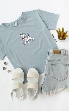 Cute T shirt - Blue Dog Print T-shirt from romwe.com