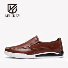 RELIKEY Brand Men Loafers Fashion Handmade Genuine Cow Leather Slip-On Spring New Arrival Male Flats Black Soft Causal Shoes Men