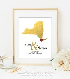 Custom Personalized Wedding Gift - Personalized Map Print - Faux Gold Foil - White & Gold - Custom Wedding Gift - Any State Available