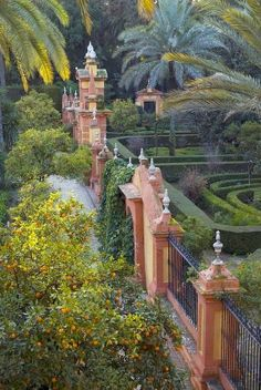 Sevilla, The gardens of the Alcazar Palace - Seville, Spain. Places Around The World, Oh The Places You'll Go, Places To Travel, Places To Visit, Around The Worlds, Travel Destinations, Parks, Malaga, Seville Spain