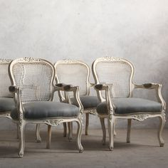 Eloquence One of a Kind Vintage Armchair Louis XV Weathered White Set of 2 @Layla Grayce