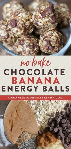 No Bake Chocolate Banana Energy Balls | Healthy Desserts Recipes - Looking for a make-ahead snack recipe you can meal prep for the whole family? Wholesome rolled oats and ground flaxseed mixed with delicious almond butter, maple syrup, and ripe banana and chocolate chips to create the most scrumptious banana chocolate no bake energy balls! Organize Yourself Skinny | Healthy Energy Bites | Healthy Chocolate Recipes | Clean Eating | Weight Loss Tips #healthysnacks #healthydessert Banana Recipes Easy Healthy, Banana Recipes Clean Eating, Healthy Desserts For Kids, Oatmeal Recipes, Skinny Recipes, Healthy Dessert Recipes, Easy Desserts, Healthy Snacks, Healthy Chocolate