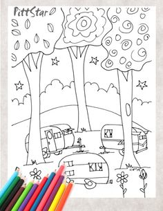 Digital Line Art Instant Download  Whimsical Vintage by PittStar, $2.00 Colouring Pics, Coloring Sheets, Coloring Books, Pattern Coloring Pages, Printable Adult Coloring Pages, Camper Drawing, Vintage Travel Trailers, Vintage Campers, Kids Travel Games