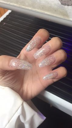 Glitter nails long acrylic coffin shape nails long nails, prom nails, my nails, Prom Nails, Long Nails, Coffin Nails Long, Dark Nails, Cute Acrylic Nails, Cute Nails, Acrylic Colors, Nail Colors, Clear Glitter Nails